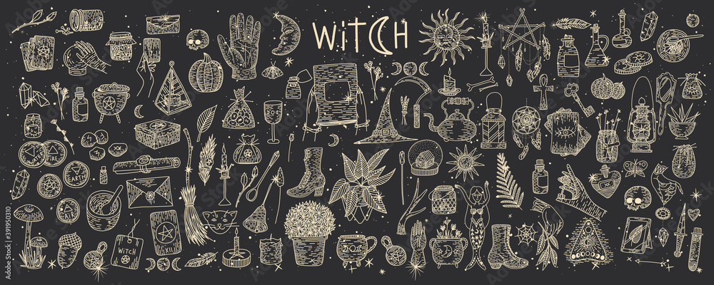 Fototapeta Supernatural magic collection of magical elements. Witch's things, vintage retro engraving style, vector graphics