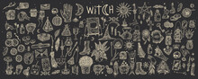 Supernatural Magic Collection Of Magical Elements. Witch's Things, Vintage Retro Engraving Style, Vector Graphics