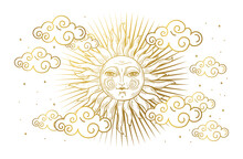 Magic Banner For Astrology, Tarot, Boho Design. Universe, Golden Sun With Face And Clouds On White Isolated Background. Esoteric Vector Illustration, Pattern