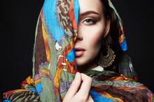 Fashion Oriental Style Girl In Colorful Hijab