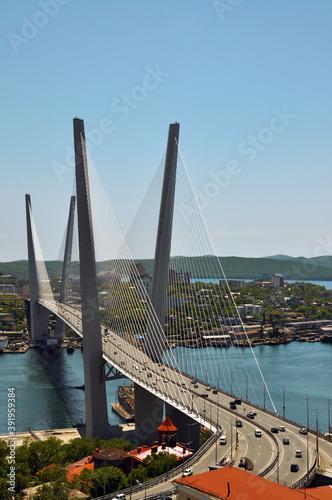 Photographie View of the Golden Bridge built across the Golden Horn Bay