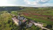 Aerial drone view of Orheiul Vechi landscape and church in Moldova