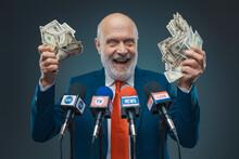 Greedy Politician Holding Cash Money