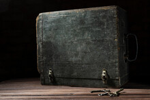 Closed Old Wooden Chest And Bu...