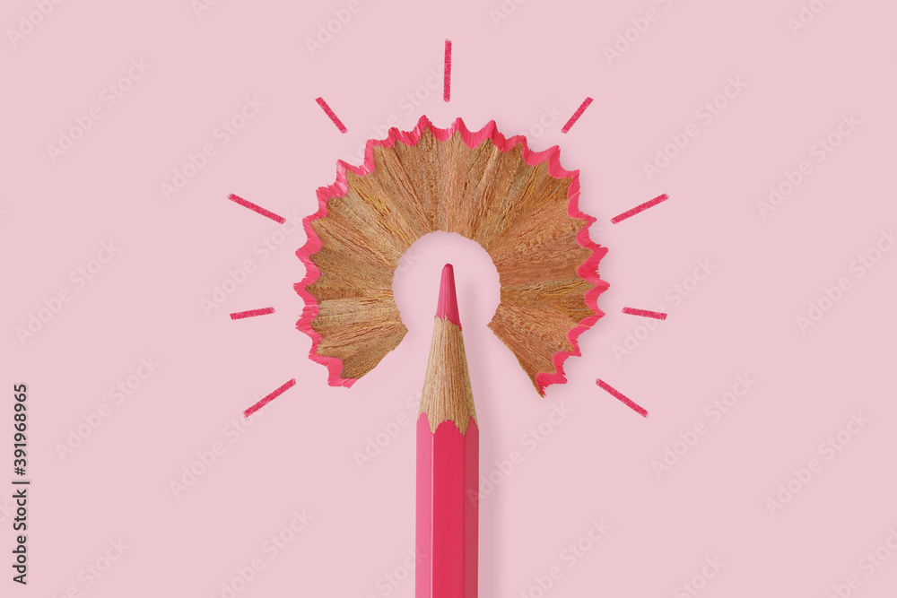 Fototapeta Pink pencil like a light bulb on pink background - Concept of women and creative thinking