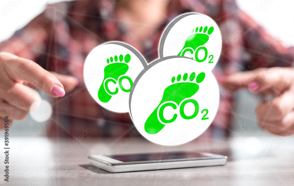 Fototapeta Concept of carbon footprint