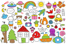Collection Of Cute Children's Doodle Of Various Animals, Objects, Kids And Nature Elements.