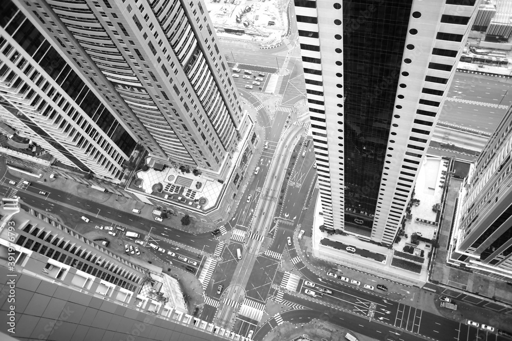 Fototapeta skyscrapers in dubai photographed from above