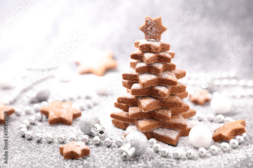 Obraz christmas gingerbread cookies fir decoration - fototapety do salonu