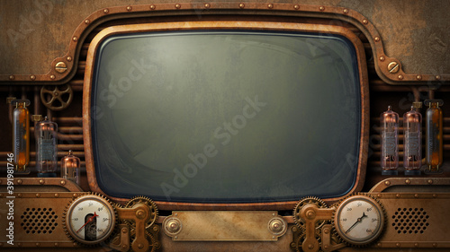 Fotografering Steampunk television screen - digital illustration