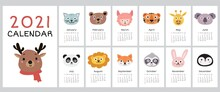 2021 Calendar With Cute Animal Faces. Yearly Planner Calendar With All Months.