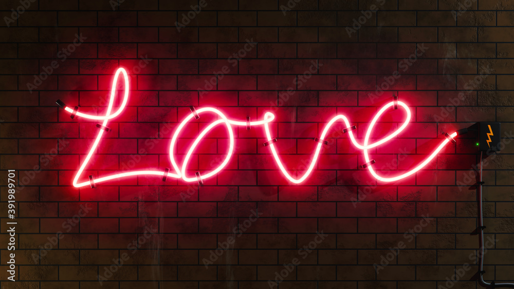 Fototapeta Love sign neon letters at a brick wall