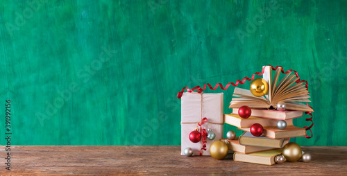Canvas Print books as christmas gift,christmas present,reading,literature,education,making a