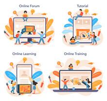 Graphic Designer Or Digital Illustrator Online Service Or Platform Set