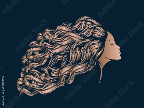 Hair salon and beauty studio illustration.Long, wavy hairstyle woman with elegant makeup.Fashion, cosmetics and spa icon.Young lady portrait.Beautiful model face.Luxury,glamour style.