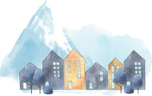 Watercolor Snowy Mountain Landscape With Spruce, Trees And Houses, Snowy Mountain Village Illustration, Winter Scene Image