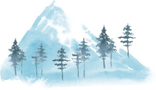 Watercolor Snowy Mountain Landscape With Spruce, Trees And Houses, Snowy Mountain Village Illustration, Snow Winter Scene Image.
