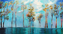 Original Oil Painting On Canvas -Abstract Fantasy Landscape -  Water, Trees And The SKY - Textured Tree, Colorful Bright Nature ART - Fine Modern Wall Art, Turquoise And Blue Painting