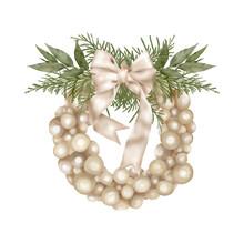 Christmas Boho Holiday Wreath With Ribbon