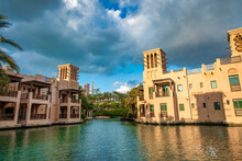 DUBAI, UAE - DECEMBER 11, 2016: View Of Madinat Jumeirah Old Style Buildings From The Canals