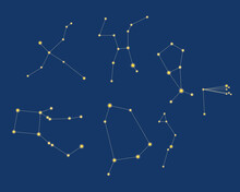 The Constellations Coma Berenices, Boo, Ophiuchus, Cygnus, Cyg, Hercules Are Isolated. Vector Stock Illustration. The Concept Of Constellations, Astronomy. Set Of Constellations