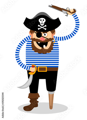 Vector pirate on a white background Canvas Print