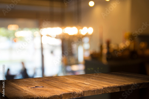 dark brown top of bar and free space for your glass