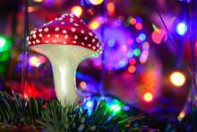 Old Vintage Glass Mushroom On ...