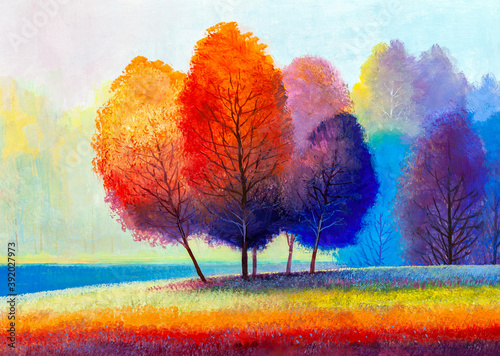 Fototapeta Autumn on the river. landscape . Painting: canvas, oil. obraz na płótnie