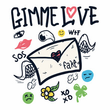 Gimme Love Doodle With Ornament Illustration Vector Design