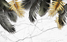3d Illustration, White Marble Background, Large Gray And Gold Tropical Leaves Hanging From Above