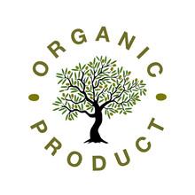 Logo En Forme De Tampon Rond Pour Des Productions Biologiques D'olives Avec Au Centre Un Olivier.