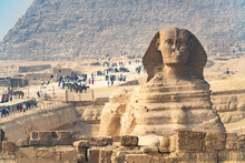 Groups Of Tourists Visit The Pyramids Of Egypt