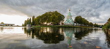 Russian Orthodox Church In Strasbourg. Reflection In Water.