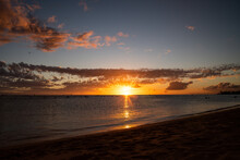 Sunset Ending Over The Ocean In Hawaii