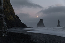 Moonlight Above Black Sand Bea...