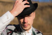 Caucassian Man In A Hat Posing Rural Area Of Ukraine