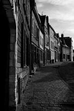 Street Scene In Black & White. Dynamic Lighting