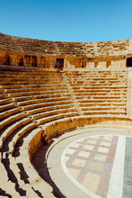 Ancient Roman Theater In The City Of Jerash, Jordan