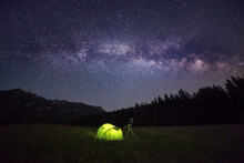 Camping Tent At Night Against ...
