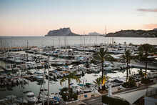 Moraira's Yacht Club At Dusk Seen From Above With Mountain Views