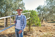 Farmer Takes The Stairs To Climb The Olive Trees