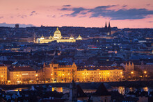 Sunrise View Of National Museum In Central Prague From Hradcany.
