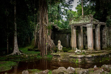 East Entrance To Preah Khan Temple In Rainy Season. Angkor Park, Siem Reap, Cambodia.
