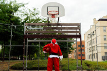 Santa Claus Looking At The Basketball Net