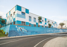 PUERTO DEL ROSARIO - FUERTEVENTURA - 12 FEBRUARY 2018. Large Colorful Building With Painting Of A Big Turtle