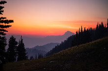 Colorful Sunset Sky In The Cascade Mountains