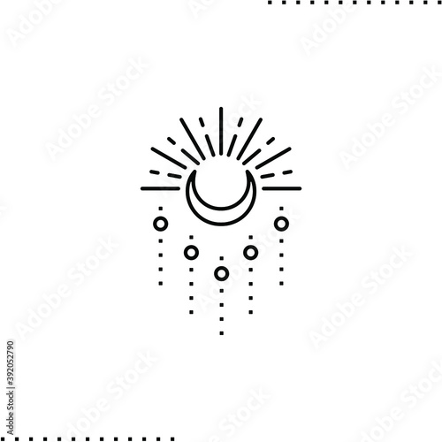 Obraz na plátne sun moon tattoo decoration vector icon in outlines