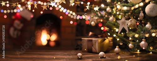 Fototapeta Christmas Tree with Decorations And Stars obraz