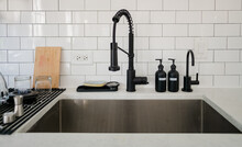 Kitchen Sink With White Subway...